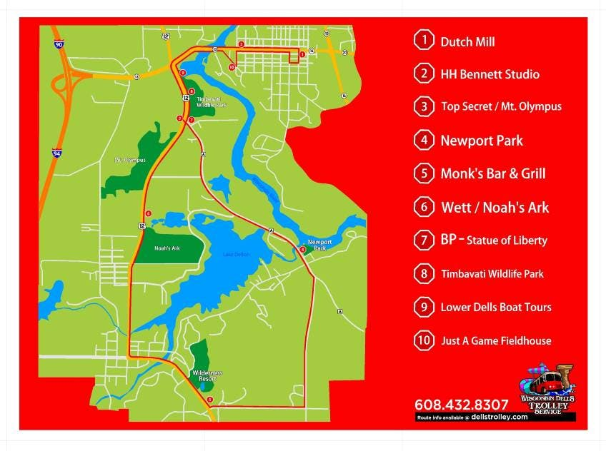 Wisconsin Dells Trolley Route Map
