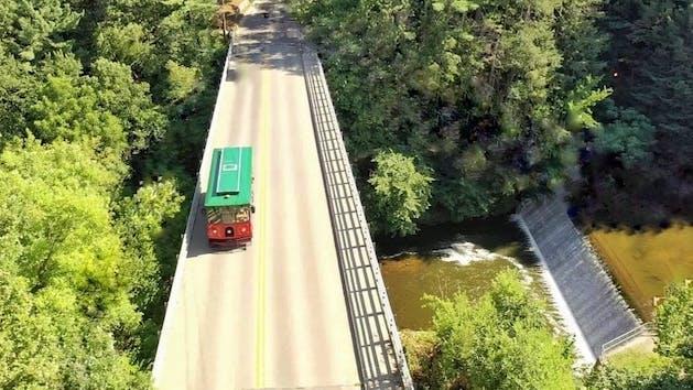 trolley on a bridge