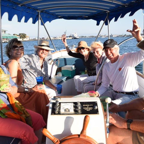 Group enjoys a Duffy Electric rental in San Diego Bay