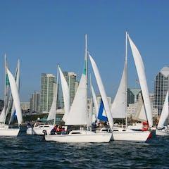 Sailboat fleet cruising in San Diego