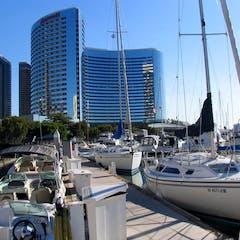 Powerboats and Sailboats in San Diego Marina
