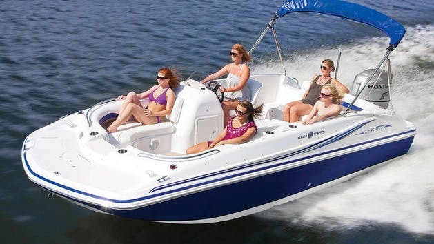 Women enjoy a day out on the water in a Hurricane 20'