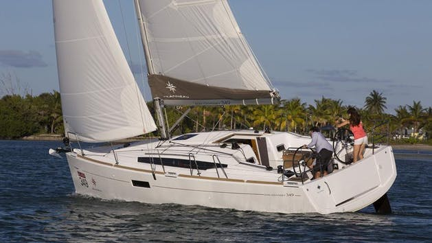 Jeanneau 349 sailing yacht on the water