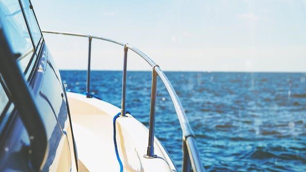 Close-up of sailboat and ocean