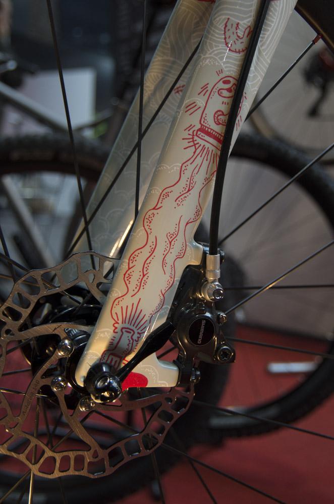Nahaufnahme von Fahrradgabel