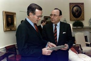 Hans-Dietrich Genscher wearing a suit and tie