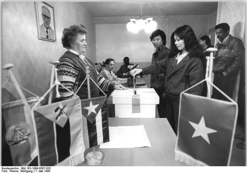 Foreign guest workers vote for the communal elections in the GDR 1989, where later the opposition found out about massive voter fraud.