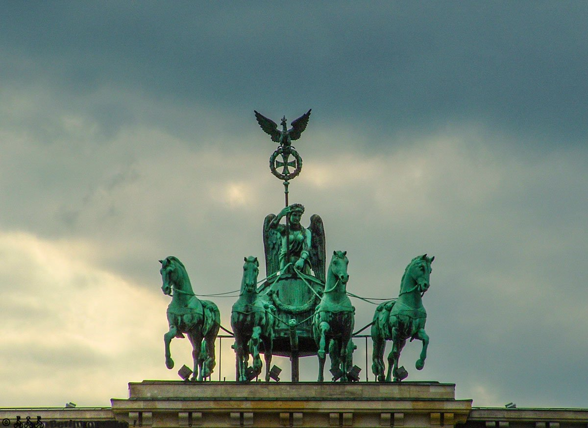 The Quadriga as a return carriage, right there was something.  Around 1815, after Napoleon was thrown out of the city and General Blücher freed the Quadriga from exile in Paris.