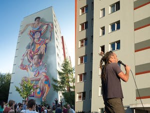 James of Street Art Duo JBAK giving us some background on their piece at Landsberger Allee.