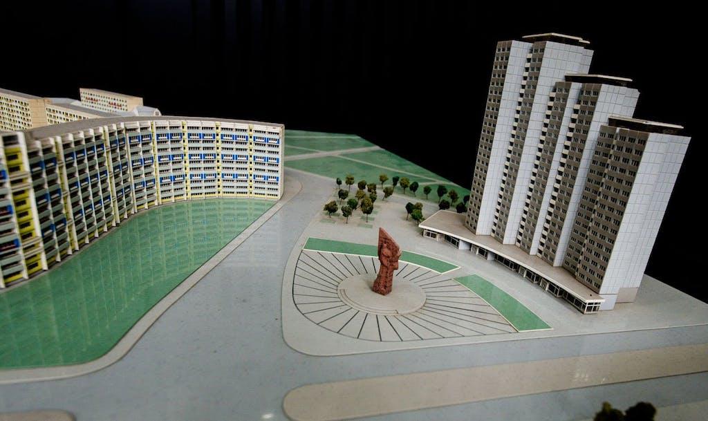 Stadtmodell Berlin, DDR Stadtplanung mit Platz der Vereinten Nationen.