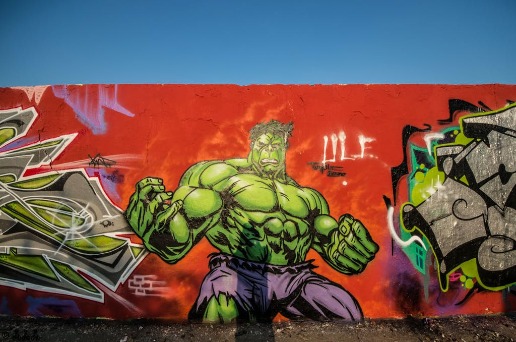 A classic motive for grafitti: The Hulk, can't think about how many of these I have seen in Mauerpark over the years.