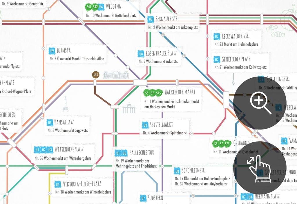 U-Bahn-Plan Berliner Wochenmärkte