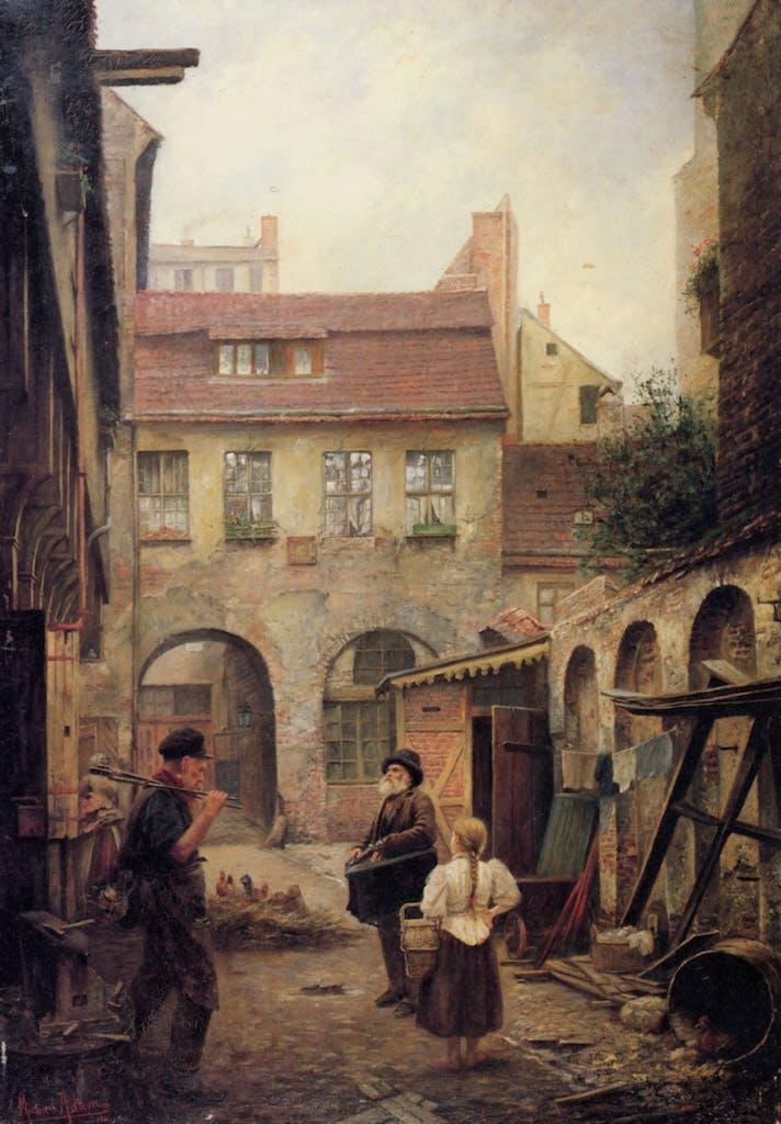Der Kroegel war die mittelalterliche Altstadt, etwa dort zu fidnen, wo heute der Neptunbrunnen steht. Ein Gewirr kleiner Gassen zog sich südlich und östlich bis an die Spree. Im Gegensatz zu heute, war die Gegend damals sehr heruntergekommen und ein echtes Arme-Leute-Viertel. Gemälde von Michael Adam; Kroegel von 1901.