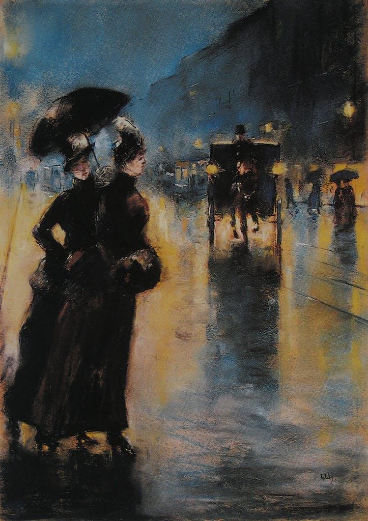 Nachtbeleuchtung, Lesser Ury, 1890. Wie ich finde, eines DER Berlinbilder überhaupt.