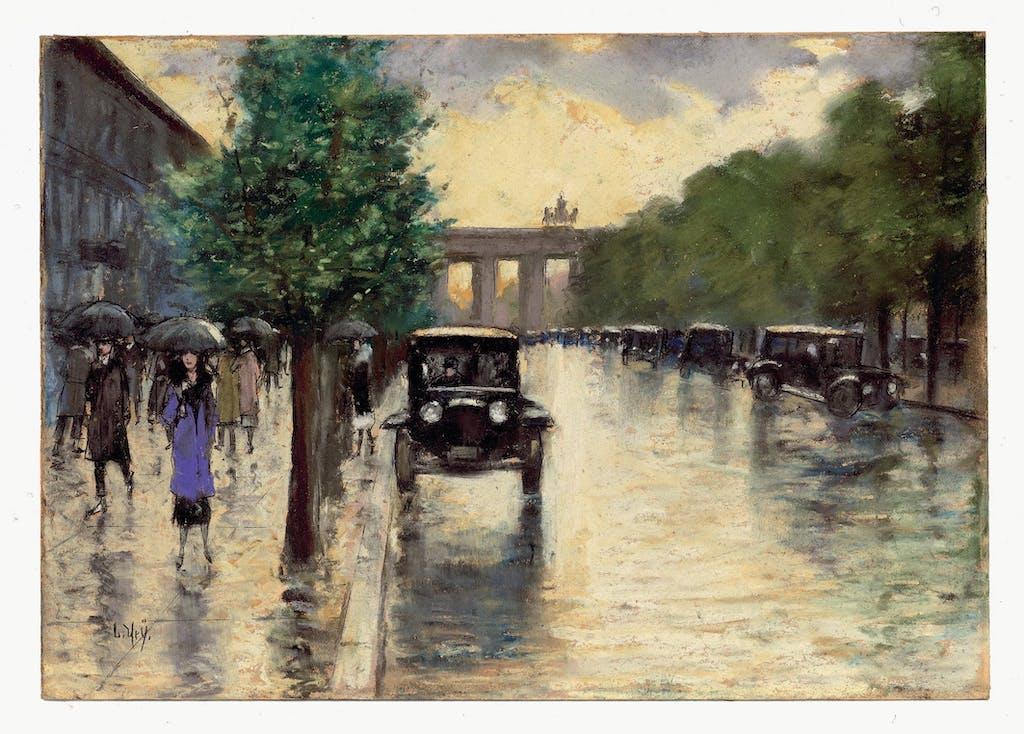 Eine weitere Ansicht des Brandenburger Tors, diesmal von Lesser Ury, dessen Umgang mit Licht und den Reflexionen regennasser Straßen ihn einige der stimmungsvollsten Berlin-Bilder hat malen lassen; 1925.