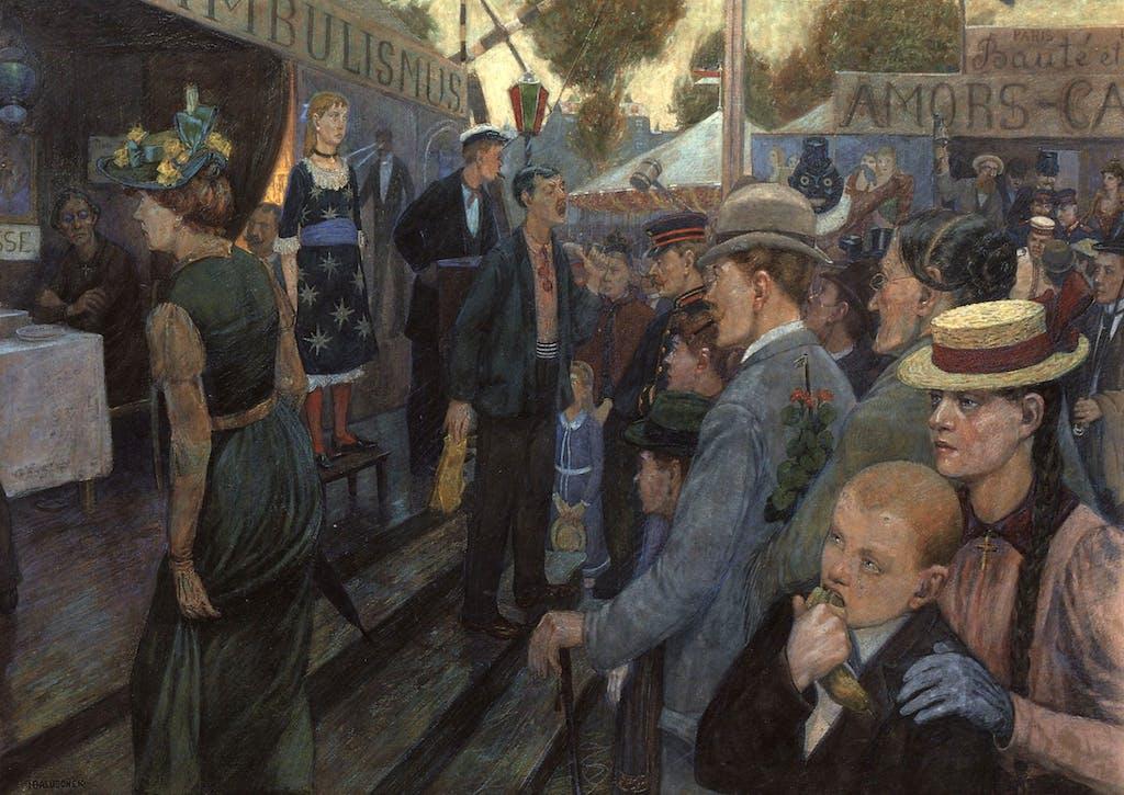 Hans Baluschek hat im Jahr 1895 das Treiben in der Kreuzberger Hasenheide eingefangen.