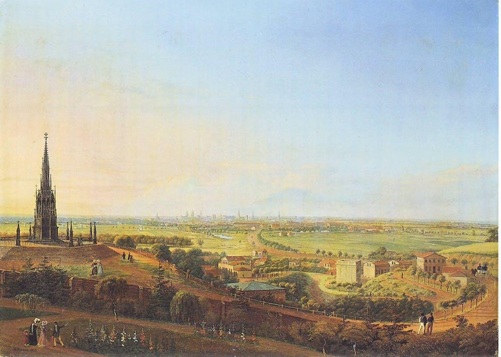 Blick über Berlin vom Kreuzberg aus (heute: Viktoriapark) mit dem Denkmal für die Befreiungskriege links im Bild. Johann Heinrich Hintze, 1829.