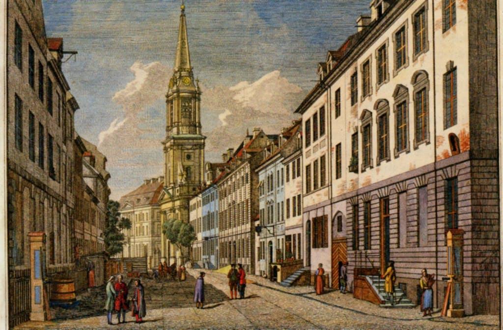 Johann Georg Rosenberg, 1785. Blick die Klosterstraße hinunter auf die PArochialkirche, einem der - wie cih finde - schönsten Gebäude der Stadt, wenn auch seit dem Weltkrieg ohne den Turm. Dieser soll übrigens wieder aufgebaut werden, wenn sich willige Spender finden.