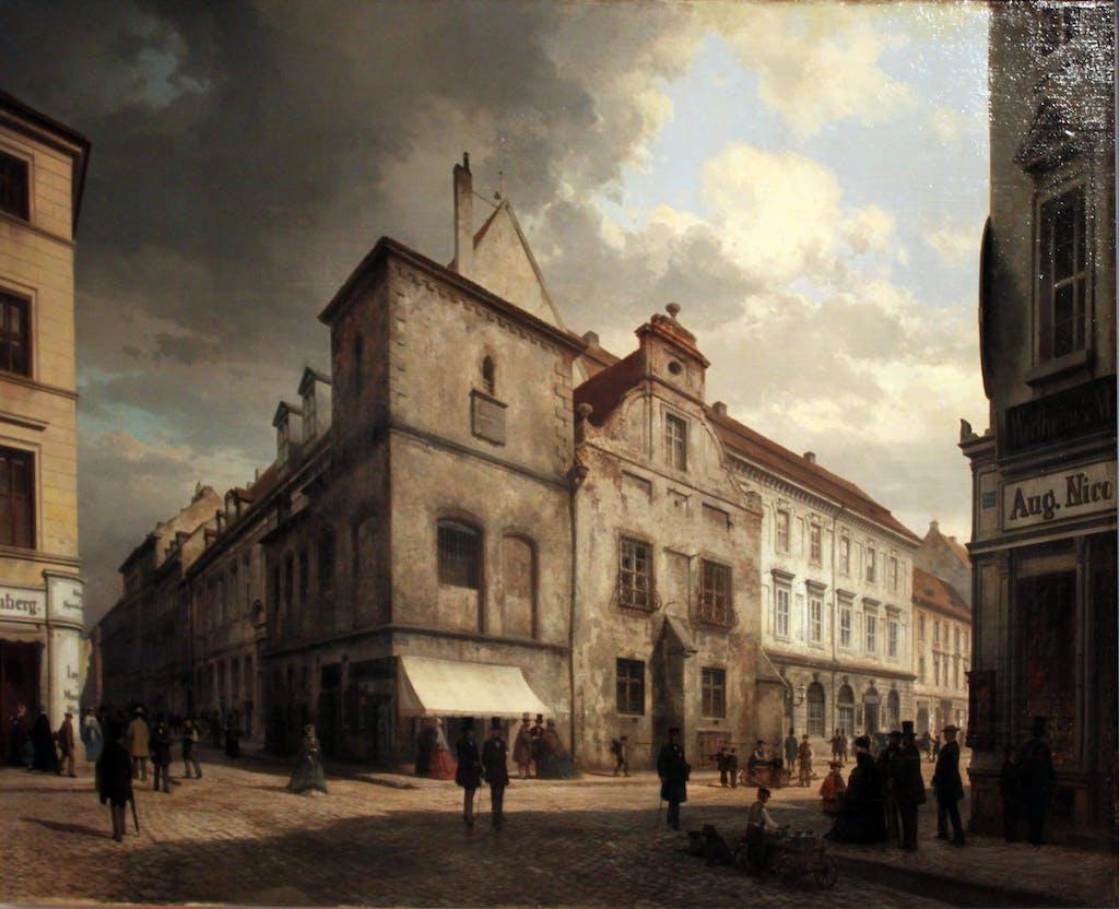 """Carl Graebs Gemälde zeigt das alte Rathaus, dass zum Zeitpunkt der ERstellung (1867) schon lange nicht mehr genutzt wurde und vor sich hin verfiel. Reste des mittelarlterlichen Rathauses hat man vor einigen Jahren im Zuge der Bauarbeiten für die neue U-Bahnstation """"Rotes Rathaus"""" gefunden."""