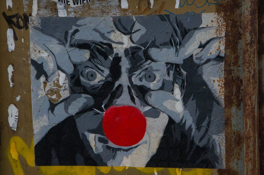 Mehr Streetart aus der Dircksenstraße. Fieser Clown