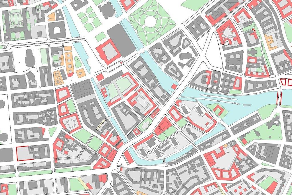 Das Stadtschloss (Bildmitte) und seine Umgebung. Ausschnitt Planwerk innere Stadt, 2010