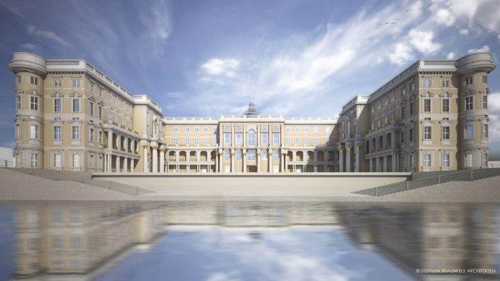 Entwurf eines Richtung Rathausforum offenen Schlosses vom Architekturbüro Stephan Braunfels