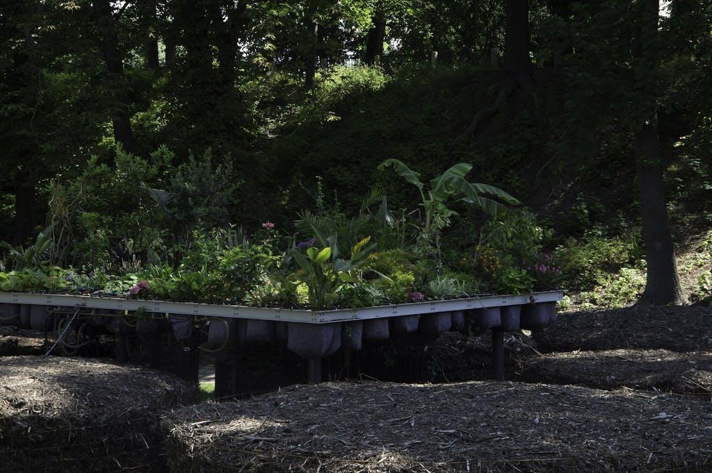 Garten-/Kunstinstallation im Stadtpark Wittenberg.
