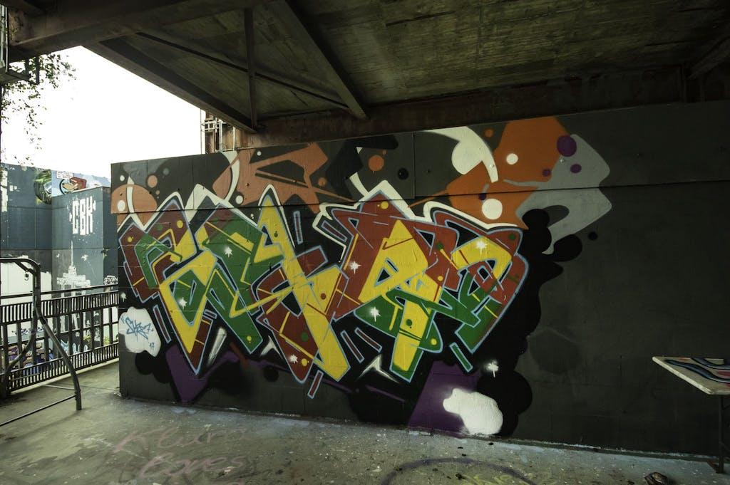 a graffiti covered building