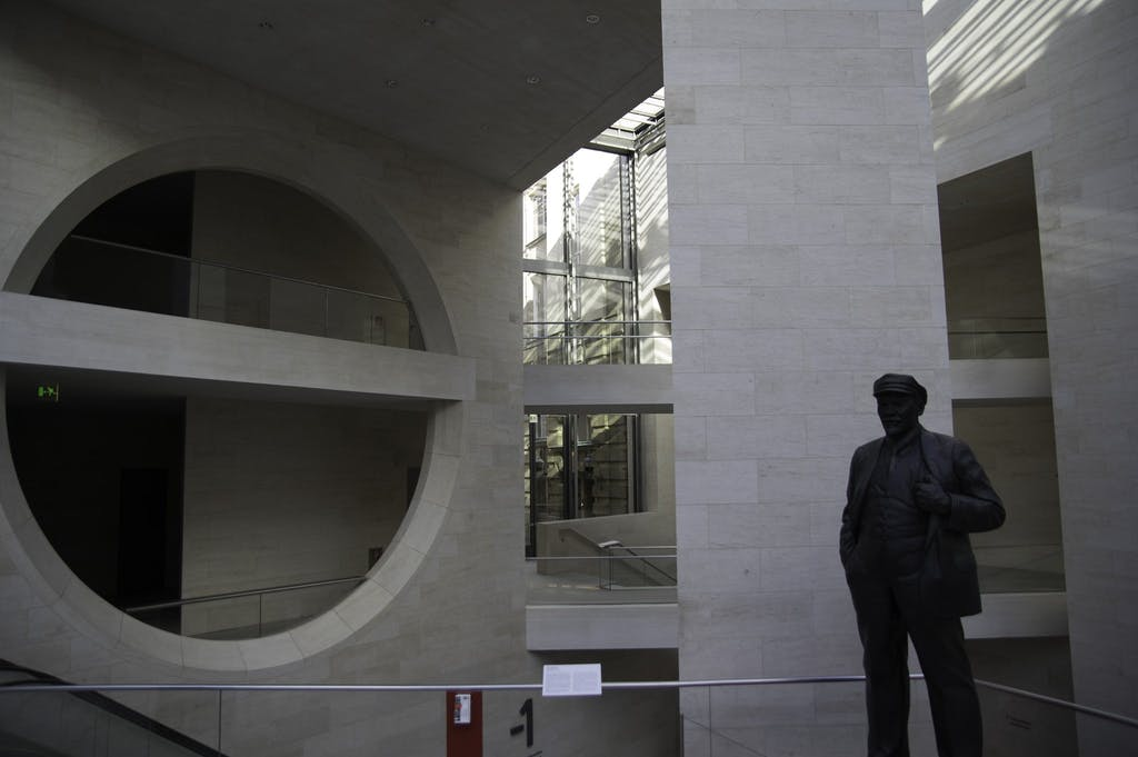 a man standing inside of a building