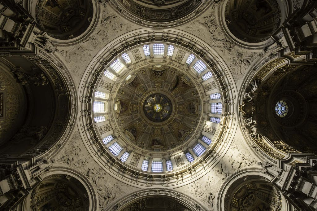 The cupola of Berlin cathedral viewed from inside