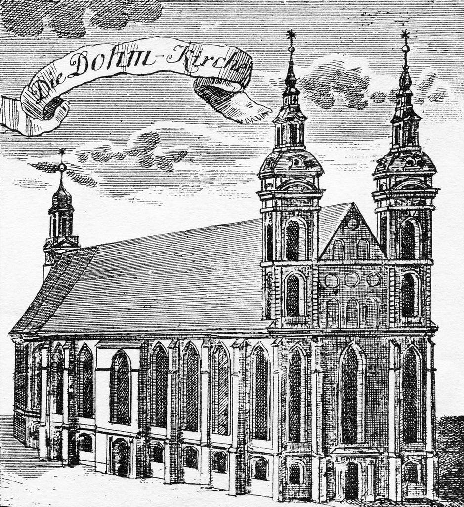 diagram, engineering drawing of the Cathedral's predecessor from 1736