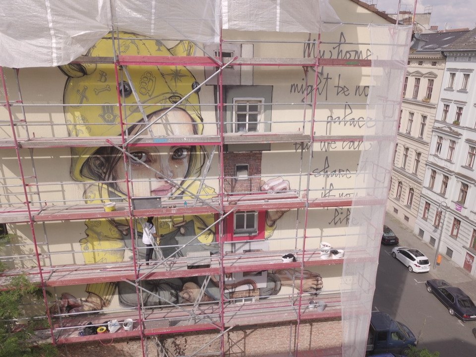 mural in der Entstehung