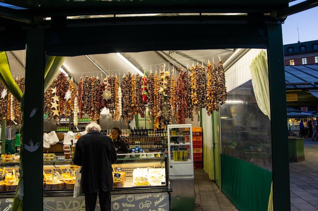 Food stall at Viktualienmarkt in Munich