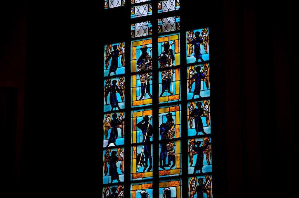 Beautiful colored glass inside Frauenkirche