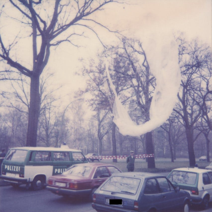 Leftovers of Winfried Freudenberg's gas balloon. before police claimed it. The last victim of the Berlin Wall has an extremely touching story. (source: private/unknown)