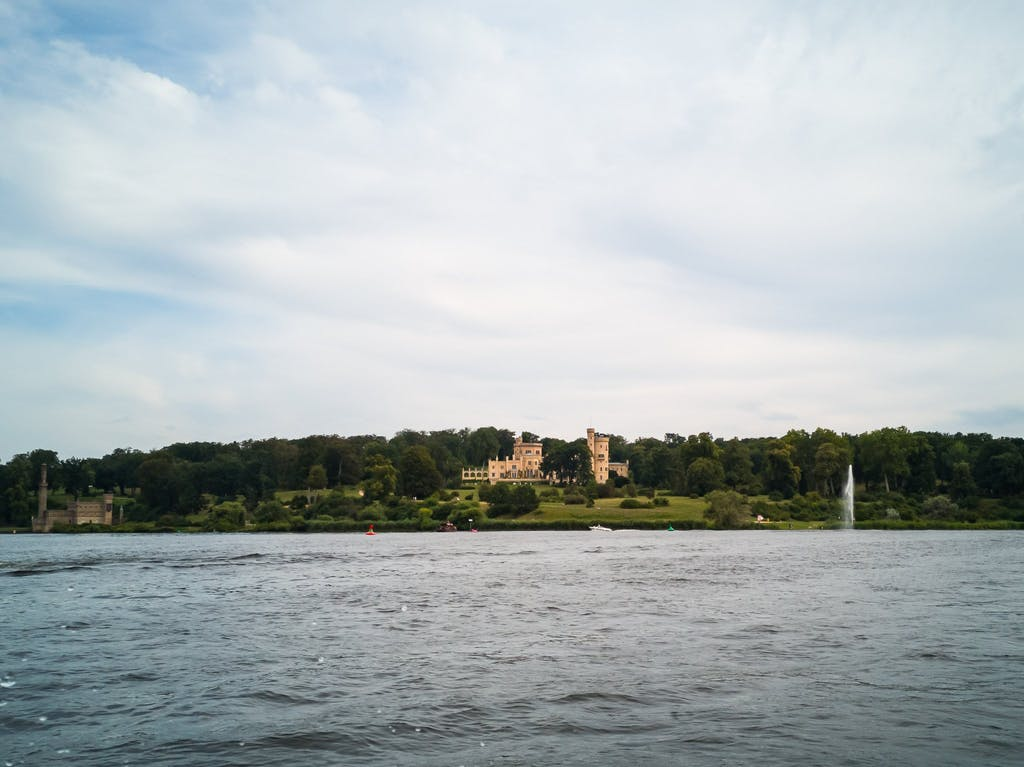 Babelsberg palace (centre) and the steam engine house (left) that powered - among other things - the fountain on the right.