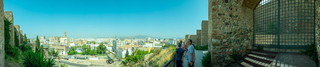 Stitched Panorama foto of the old-town of Malaga from appr. 50m elevation. Right and left the walls of Alcazaba, just below the Roman amphitheatre and the skyline including the Malaga cathedral.