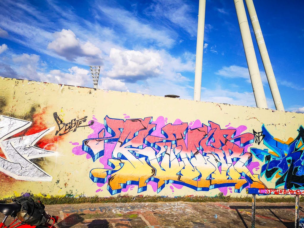 Classical graffiti piece in Mauerpark - just moments before.