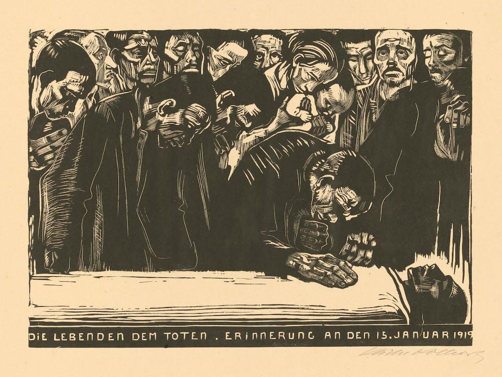 Holzschnitt von Trauernden, die sich über den Leichnam Karl Liebknechts beugen, gestaltet von Käthe Kollwitz.