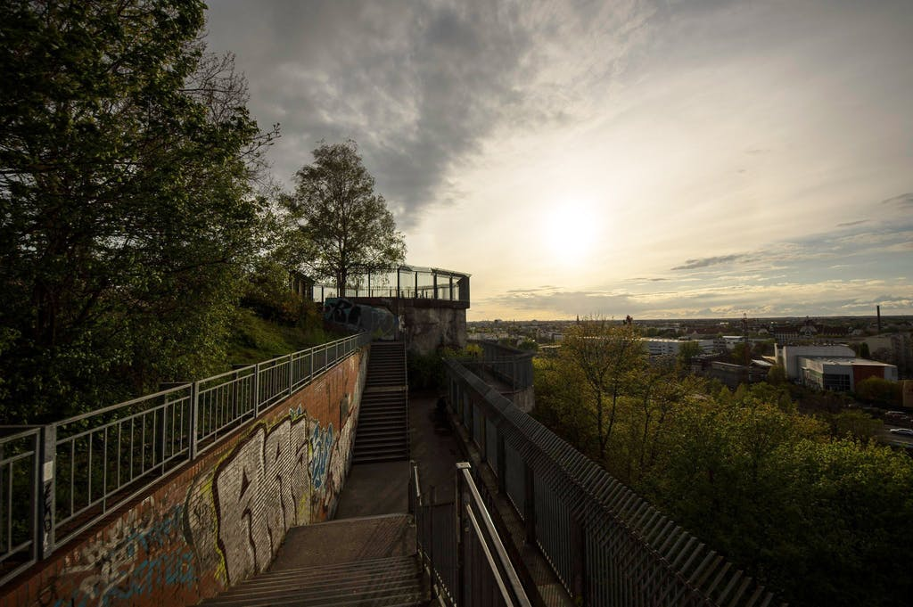 Sunset at the Humbolthain bunker in Berlin Wedding