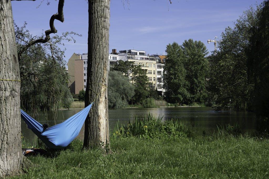 hängematte zwischen zwei Bäumen am Berliner Lietzensee in Charlottenburg