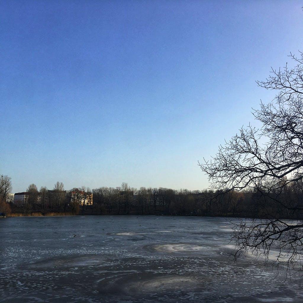 Blick über den winterlichen Weißen See