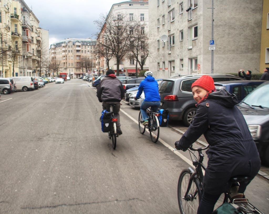 Radtour auf dem Weg zum Winterfeldplatz
