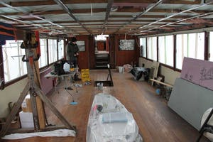 interior of Walworth boat while undergoing maintenance