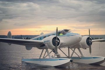 a airplane that is sitting in the water