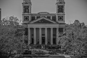 an old photo of a church