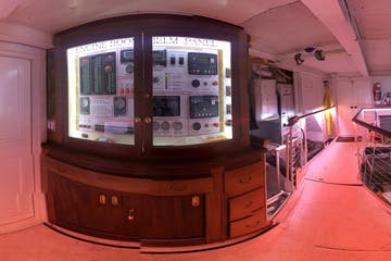 view of engine room in a paddlewheel boat