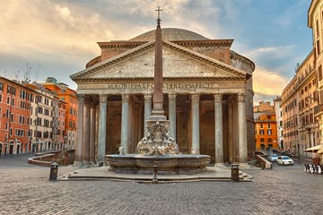 a group of people standing in front of Pantheon, Rome