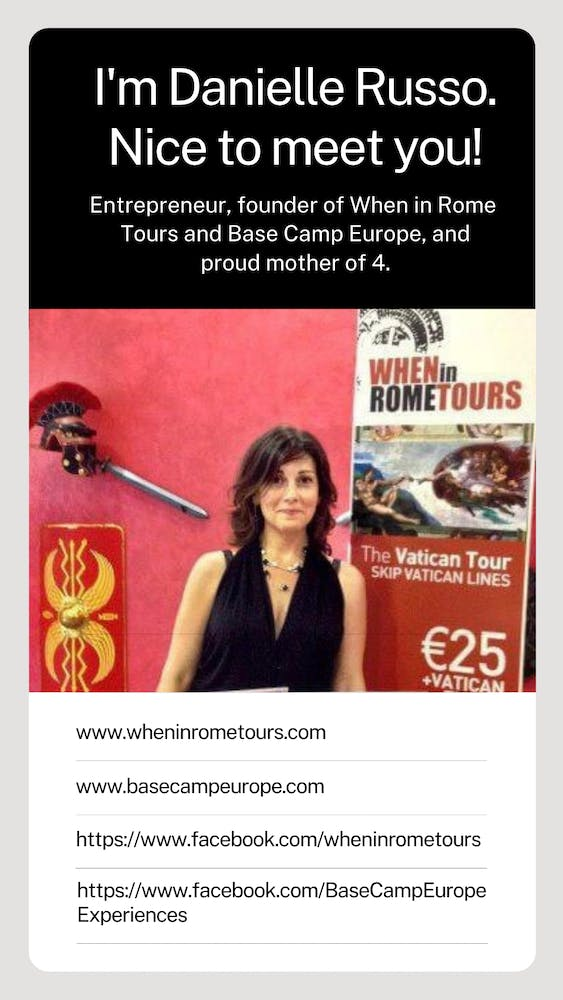 when in rome tours is a tour operator in rome headed by ceo danielle russo