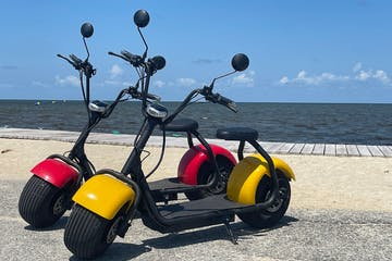 a motorcycle parked on the beach